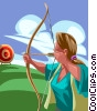 Vector Clip Art graphic  of a Woman shooting an arrow at a