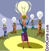 Vector Clipart picture  of a Woman with an idea/light bulb