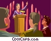 Vector Clipart graphic  of a Woman giving a speech
