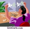 Woman with cut-outs representing teamwork Vector Clipart picture