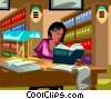 Woman working in a law library Vector Clip Art picture