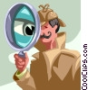 Vector Clip Art image  of a Investigator with a magnifying