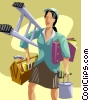 Vector Clip Art graphic  of a Businesswoman of many trades