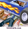 Man in a shirt and tie working under his race car Vector Clipart picture