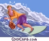 Vector Clipart illustration  of a businesswoman surfing a wave