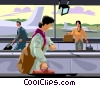 woman walking through an airport Vector Clip Art picture
