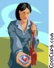 Vector Clipart picture  of a woman with a directional