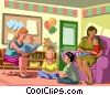 child care center workers with children Vector Clipart image