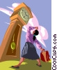 woman looking up at grandfather clock Vector Clipart illustration