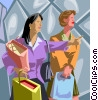 Vector Clipart illustration  of a two women after a day of shopping