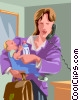 Vector Clip Art graphic  of a working mother talking on the