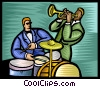 jazz musicians playing drums and trumpet Vector Clipart graphic