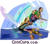 Vector Clipart graphic  of a Man water skiing on one ski