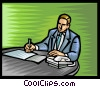 businessman working at his desk Vector Clip Art image