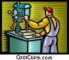Vector Clipart illustration  of a Carpenter working at the drill