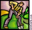 farmer digging into the ground Vector Clip Art graphic