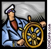 Captain at the helm Vector Clip Art picture