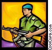 Vector Clip Art image  of a Peace keeping soldier with a