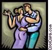 Vector Clipart illustration  of a couple dancing together
