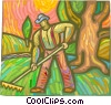 farmer raking the grass Vector Clipart illustration