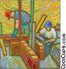 Vector Clip Art image  of a Construction workers making a