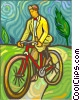 Man riding a bicycle Vector Clip Art graphic
