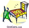 person playing pinball on a pinball machine Vector Clip Art image