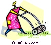 Vector Clip Art graphic  of a person cutting the lawn