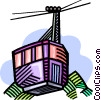 Vector Clip Art graphic  of a downhill skiing gondola