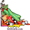 Vector Clipart graphic  of an Assorted fruits and vegetables