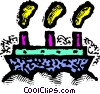 Vector Clip Art graphic  of a cruise ship with smokestacks