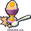 hard boiled egg in an egg cup Vector Clipart graphic