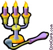 candelabra and candle snuffer Vector Clipart graphic