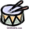 Vector Clip Art image  of a drum and drumsticks