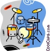 Vector Clipart graphic  of a drum set