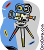Vector Clip Art graphic  of a movie cameras