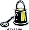 Vector Clipart graphic  of a lock and key