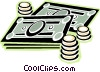 dollar bills and coins Vector Clip Art graphic