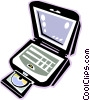 laptop computer with CD rom drive Vector Clipart illustration