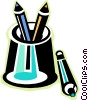 Vector Clip Art image  of a pencil holder with colored