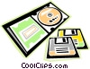 Vector Clip Art image  of a CD rom with floppy disks