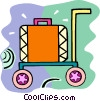 suitcase on a cart Vector Clipart picture