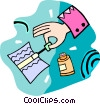 Vector Clipart picture  of a person using liquid paper