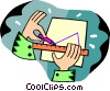 Vector Clipart graphic  of a person drawing a triangle with