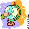Vector Clip Art image  of a hand spinning a globe