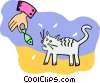 Vector Clipart illustration  of a cat being fed a fish treat