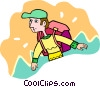 man with backpack hiking Vector Clip Art image