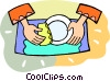 Vector Clipart graphic  of a person doing the dishes