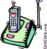 portable telephone with charger Vector Clipart picture