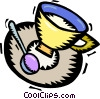 Vector Clip Art graphic  of a cup saucer and spoon